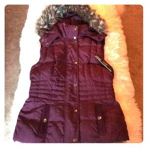 Ana Plum Fur Trimmed Hood Quilted Vest